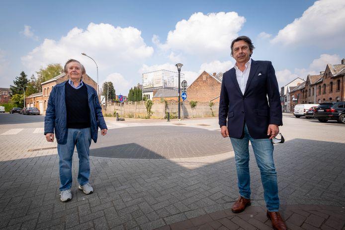 Wilfried Leemans en Dominik De Jaeger bij de locatie van Residentie Den Geerhoek in de Overwinningsstraat.