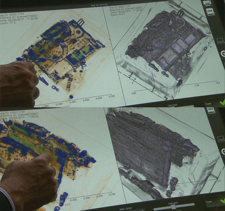 De nieuwe 3D-scanners leveren een grondige blik in de koffer en de inhoud ervan. Beeld CBS News