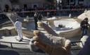 De supporters richtte schade aan monumenten als de fontein Barcaccia van Bernini aan.
