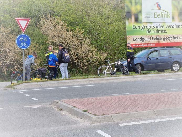 De situatie na de aanrijding in Winterswijk.