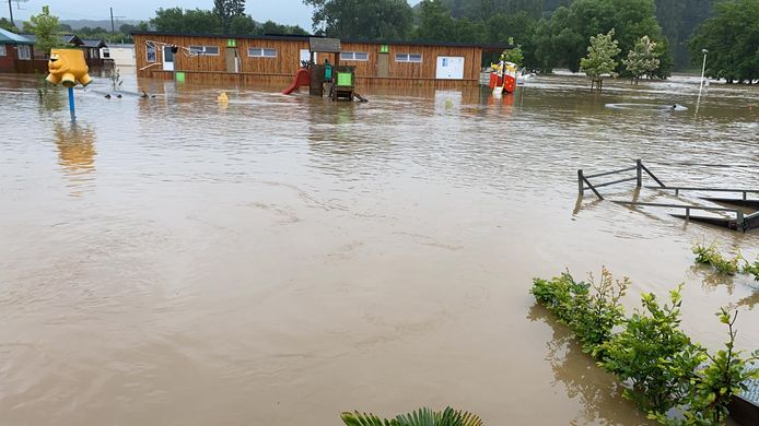 In Hotton liep alles onder water. Zoals deze camping La Brise.