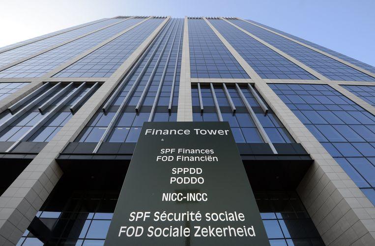 De Finance Tower in Brussel, waar de FOD Financiën gevestigd is. Beeld BELGA