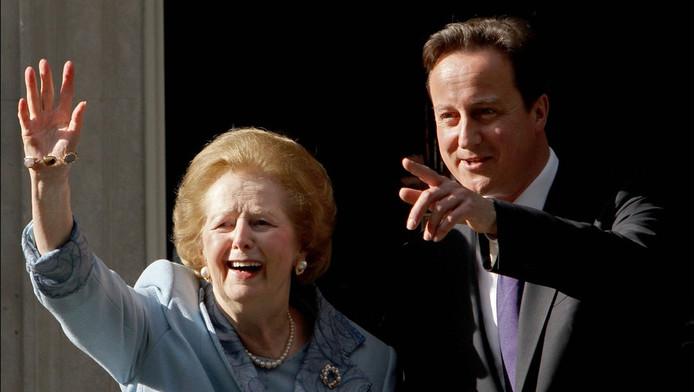 Margaret Thatcher et le Premier ministre britannique David Cameron (archives)