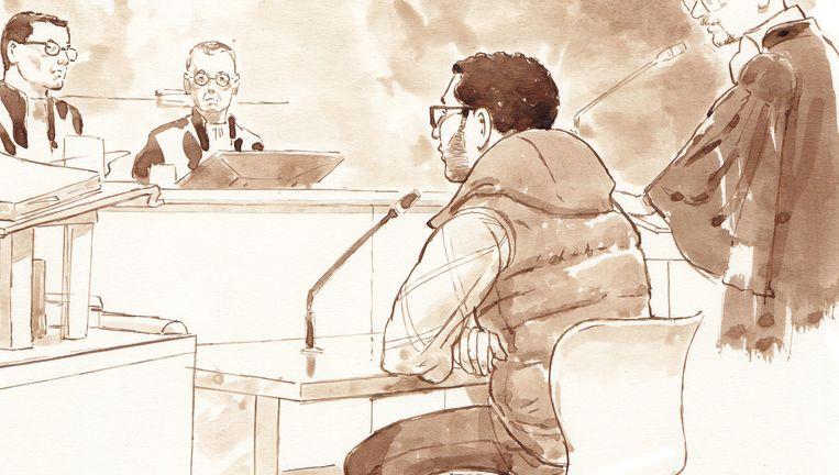 Rechtbanktekening van Mohamed B. tijdens een pro-formazitting in de rechtbank van Rotterdam. Beeld anp