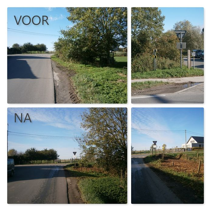 Voor en na de opfrisbeurt: Komende vanuit de Kruisboomstraat en zicht op de Eikhoekstraat.