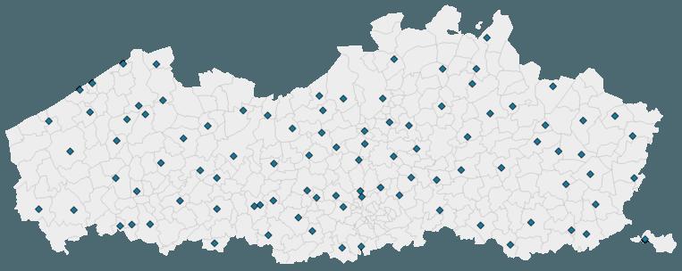 De 94 vaccinatiecentra in Vlaanderen. Beeld DM
