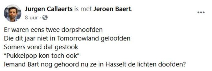 De limerick van burgemeester Jurgen Callaerts