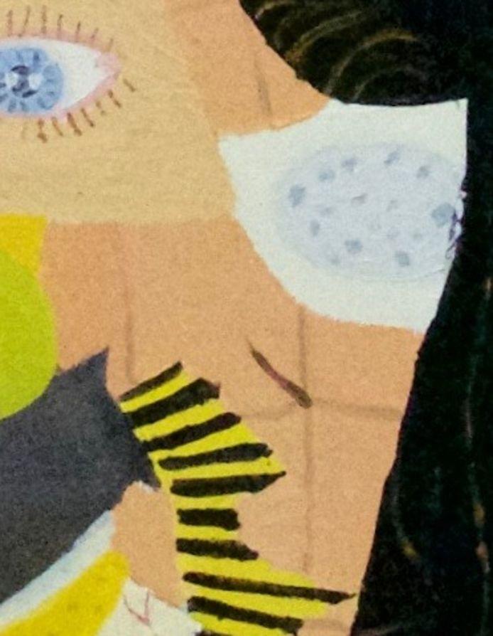 Detail van een huidvlok uit een door Het Dolhuys aangekocht schilderij van Ria Mul