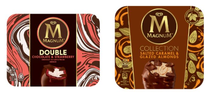 De nieuwe smaken Salted Caramel & Glazed Almonds en Double Chocolate & Strawberry die Magnum dit jaar ook introduceert.