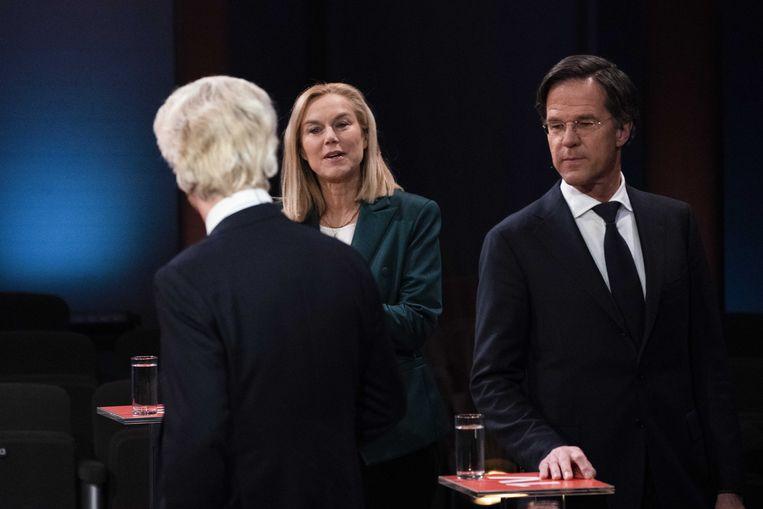 Geert Wilders, Sigrid Kaag en Mark Rutte in debat bij EenVandaag.  Beeld ANP