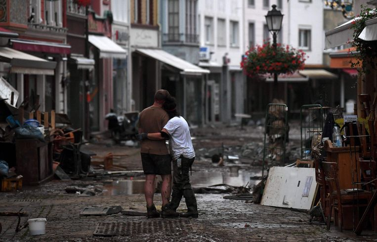 Het hoogwater liet een ravage achter in Bad Neuenahr-Ahrweiler.  Beeld AFP