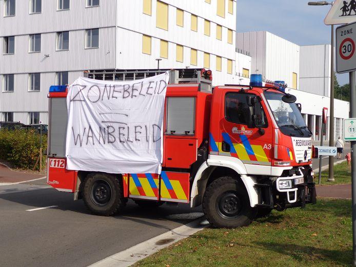 Protest brandweer Mechelen tijdens WK