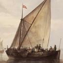 Teunis Muller werd in 1779 schipper op het marktschip op Rotterdam. Dat zal de Zwaan geweest zijn. Hier op een schilderij van Jacob van Strij. Let op de op elkaar gepropte passagiers. Geen 1,5m afstand.