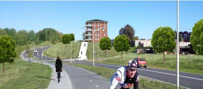 Zo zou het aanzicht vanaf de Antwerpsescheldeweg er op grond van de aangepaste structuurvisie centrum Hoogerheide er in 2020 kunnen zijn. De twee appartementenblokken op het talud zijn iets lager geworden en meer naar het noordoosten geplaatst.