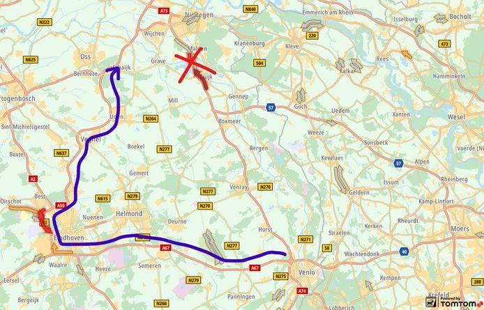 Op de A73 is een ongeluk gebeurd.