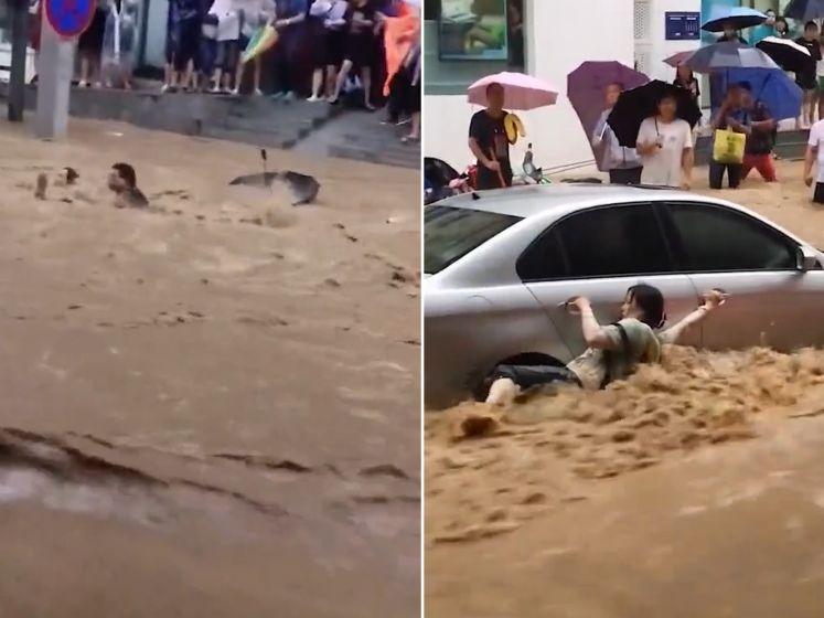 Heldhaftige man redt vrouw uit helse stroming in China