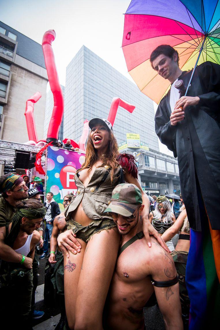 Gay Pride in Brussel. De partijen vertonen grote verschillen als het over holebirechten gaat. Beeld BELGA