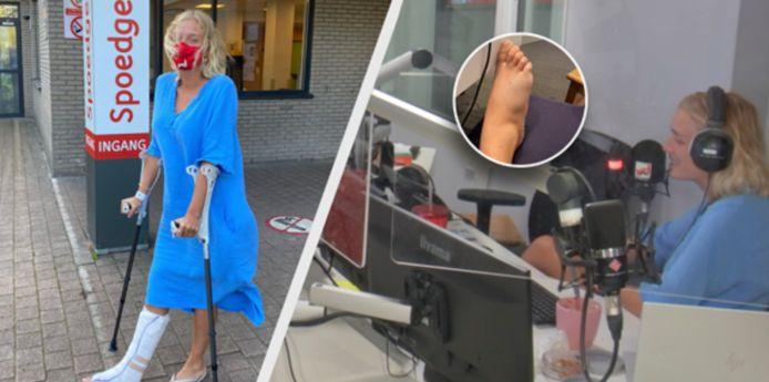 Julie Vermeire breekt voet door mug.