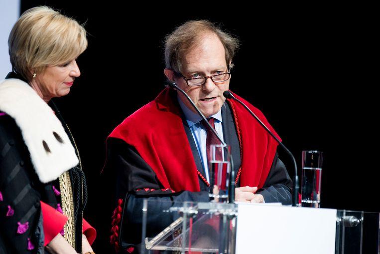 Anne De Paepe, UGent-rector van 2013 tot 2017, en Rik Torfs, KU Leuven-rector in dezelfde periode, in januari 2017. Beeld BELGA
