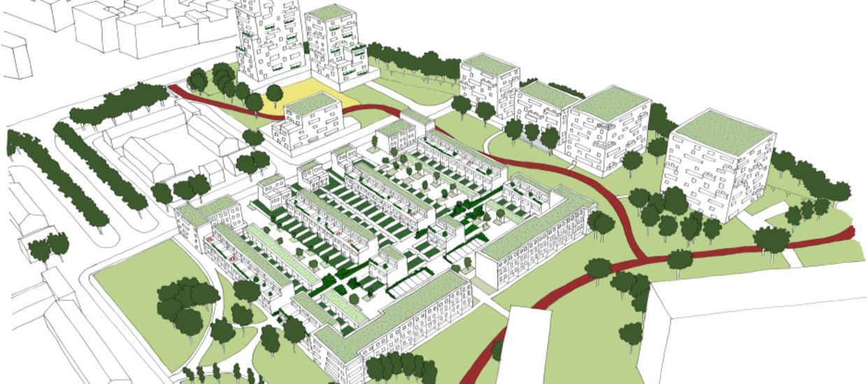 In het nieuwe bestemmingsplan is ruimte voor 550 woningen, waarvan een kwart sociale huur zal zijn.  Beeld Gemeente Amsterdam