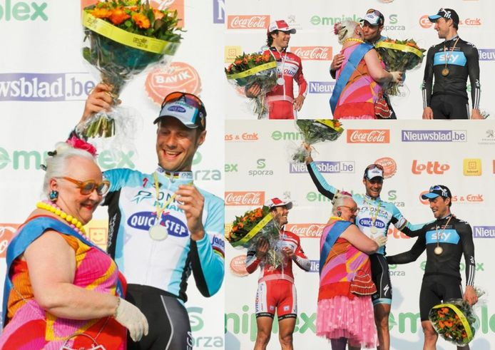 Bloemenmeisje Germaine kust de winnaar van 2012: Tom Boonen.