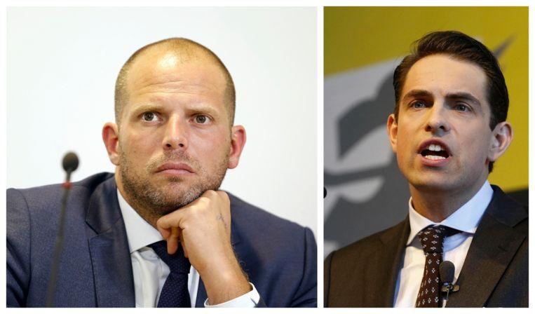 Staatssecretaris voor Asiel en Migratie Theo Francken (N-VA) en Vlaams Belang-voorzitter Tom Van Grieken. Beeld Belga