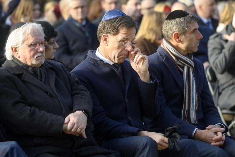 Mark Rutte bij de herdenking van zondag, waar hij excuses aanbood voor 'het overheidshandelen' ten tijde van de Jodenvervolging.  Beeld EPA