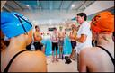 Clinic Jacco Verhaeren met Australische zwemmers in het Hofbad in Den Haag.