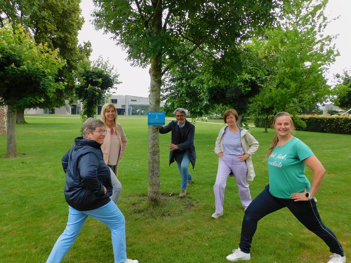 Vanaf deze week kan je een beweegroute volgen in het park aan de OCMW-campus in Zoutleeuw. Tweede van rechts: Ilse Beelen (CD&V), schepen van Welzijn en Gezonde Geemte en uiterst rechts: BOV-coach Lieve Klaps.