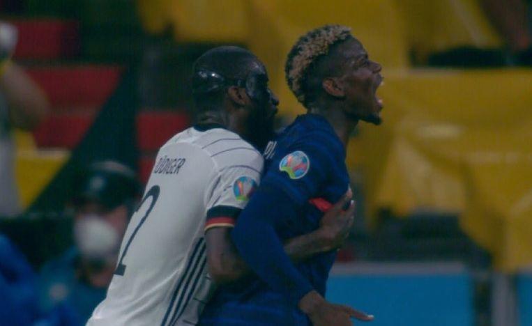Het incident tussen Rüdiger en Pogba. Beeld Twitter