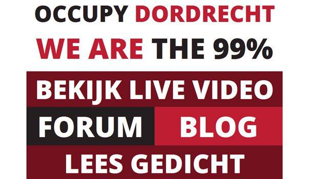 Een screenshot van de website Occupy Dordrecht