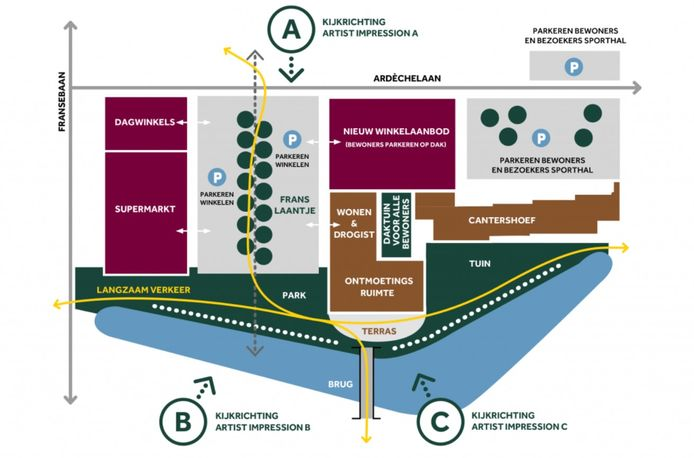 Plattegrond van Hartje Barrier, het plan voor winkelcentrum Ardèchelaan en wooncomplex Cantershoef in Achtse Barrier, Eindhoven
