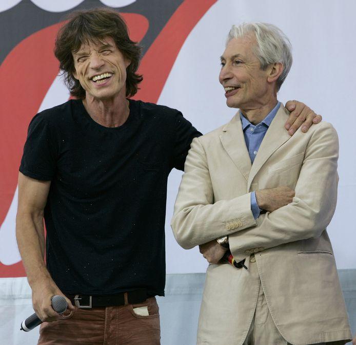 Charlie Watts met frontman Mick Jagger.