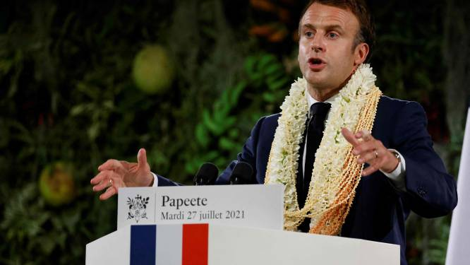 Macron erkent schuld van Frankrijk bij kernproeven Frans-Polynesië, maar excuses blijven uit