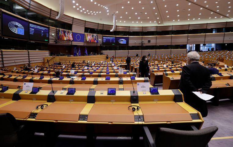De vergaderzaal van het Europees Parlement.  Beeld EPA