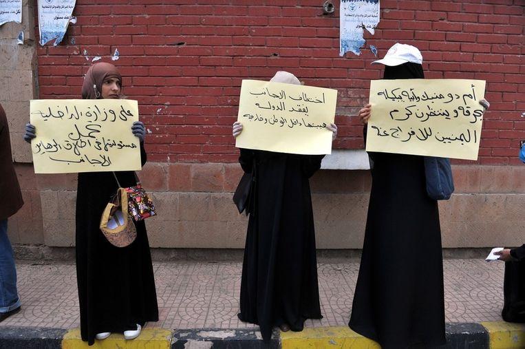 Demonstratie voor het ministerie van Binnenlandse Zaken in Sanaa om de regering te bewegen meer te doen tegen het toenemend aantal kidnappings. Beeld EPA
