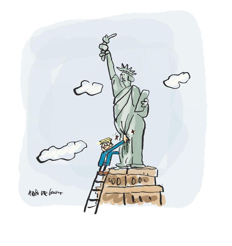 Donald Trump en het Vrijheidsbeeld. Beeld Hein de Kort