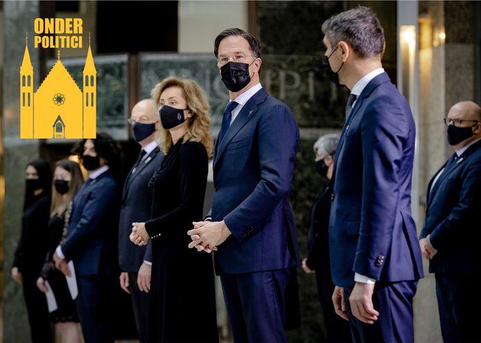 Demissionair premier Mark Rutte tijdens de herdenking bij de Erelijst van Gevallenen op 4 mei.