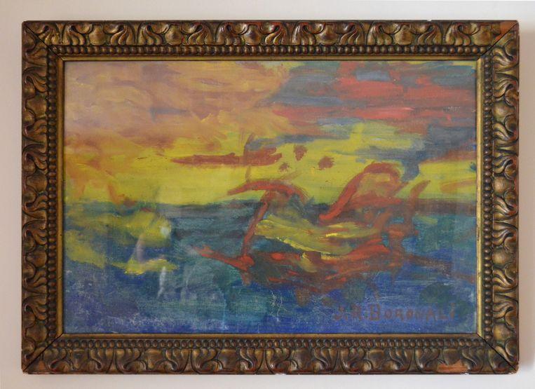 'Et le soleil s'endormit sur l'Adriatique' (1910) werd door een ezel geschilderd, met zijn staart. Beeld © Espace culturel Paul Bédu, Milly-la-Forêt (Essonne)