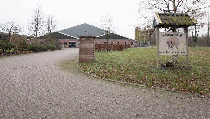 Entree van het bedrijf van de maatschap Ter Haar-Koier aan de Walemaatweg in Geesteren. Op de achtergrond de 'megastallen'.
