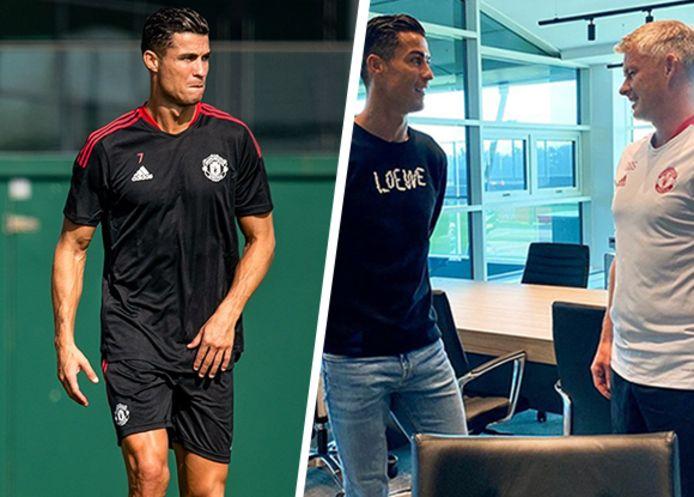 Links: Ronaldo voor het eerst weer op het trainingsveld bij Manchester United.  Rechts: Ronaldo in een eerste gesprek met coach Solskjaer.