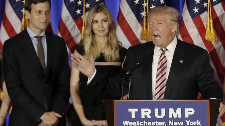 Jared Kushner, Ivanka en Donald Trump.  Beeld REUTERS