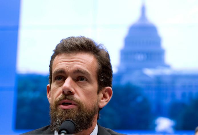 Twitter-topman Jack Dorsey tijdens een hoorzitting vorig jaar september in het Amerikaanse Congres in Washington.