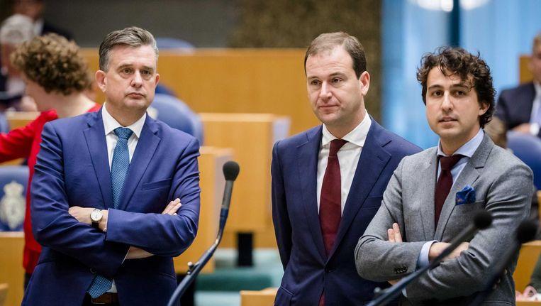 Oppositieleiders Jesse Klaver (Groenlinks), Lodewijk Asscher (PvdA) en oud-leider Emile Roemer (SP) in debat met Premier Rutte tijdens een plenair debat in de Tweede Kamer. Beeld anp