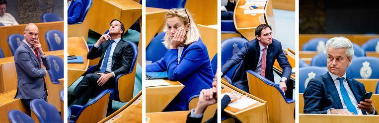 Toe aan vakantie (van links naar rechts): Gert-Jan Segers (ChristenUnie), Mark Rutte (VVD), Sigrid Kaag (D66), Wopke Hoekstra (CDA) en Geert Wilders (PVV). Beeld Werry Crone, ANP