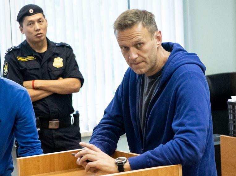 Alexey Navalny, de meest prominente oppositiefiguur van Rusland, in de rechtbank op 24 juli 2019.
