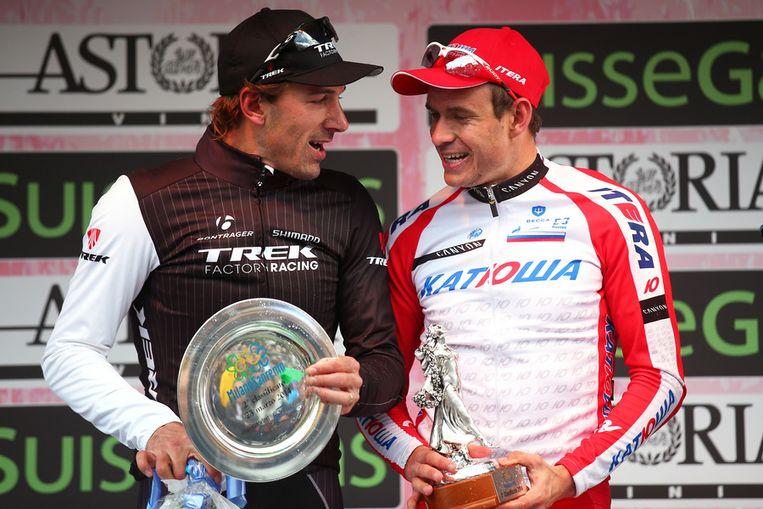 Cancellara stond voor de vierde opeenvolgende keer op het podium Beeld GETTY