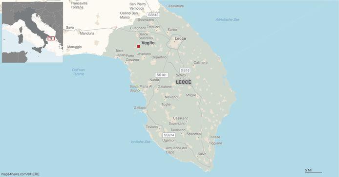 Veglie ligt helemaal in het zuiden van Italië, in de hak van de laars.