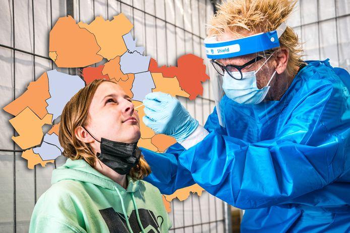 De coronakaart van 9 september: Nunspeet en Hardenberg melden flinke besmettingstoename, in de rest van Oost-Nederland is vooral een daling zichtbaar.