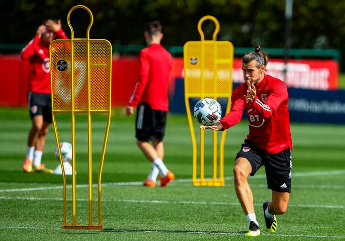 Gareth Bale op de training van Real Madrid.